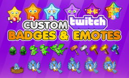 Custom unique twitch sub badges, bit badges, loyalty badge and emotes for Twitch, Youtube and Facebook