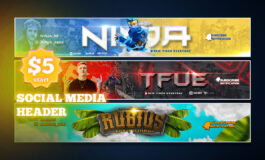 Custom Amazing Social Media header for Twitch, youtube, Facebook and Discord