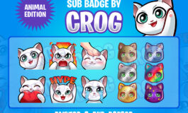 PREMADE Twitch Emote and Sub badge   White Cat Emote